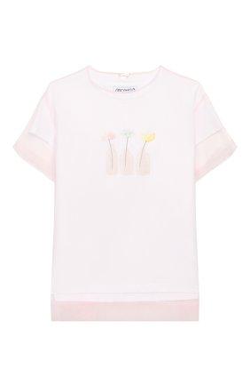 Детский хлопковая футболка SIMONETTA розового цвета, арт. 1M8101/MC960/5-8   Фото 1