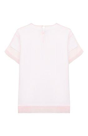 Детский хлопковая футболка SIMONETTA розового цвета, арт. 1M8101/MC960/5-8   Фото 2