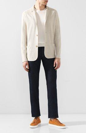 Мужской пиджак из смеси шелка и льна LORO PIANA светло-бежевого цвета, арт. FAL0061 | Фото 2
