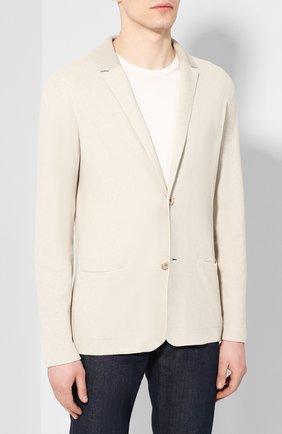 Мужской пиджак из смеси шелка и льна LORO PIANA светло-бежевого цвета, арт. FAL0061 | Фото 3