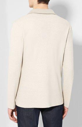Мужской пиджак из смеси шелка и льна LORO PIANA светло-бежевого цвета, арт. FAL0061 | Фото 4