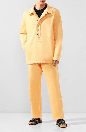 Мужская джинсовая рубашка JACQUEMUS оранжевого цвета, арт. 205DE05/41270 | Фото 2