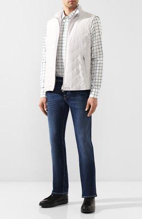 Мужская рубашка из смеси хлопка и льна BOSS зеленого цвета, арт. 50428458   Фото 2