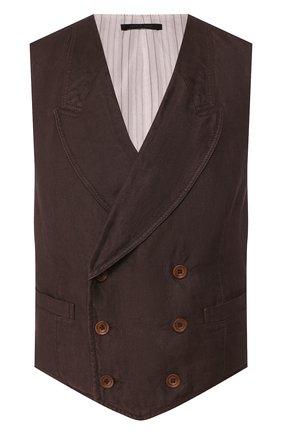Мужской льняной жилет GIORGIO ARMANI коричневого цвета, арт. 0SGGK01C/T01M3 | Фото 1 (Мужское Кросс-КТ: Жилет-классика; Материал подклада: Хлопок; Материал внешний: Лен; Длина (верхняя одежда): Короткие; Стили: Классический)