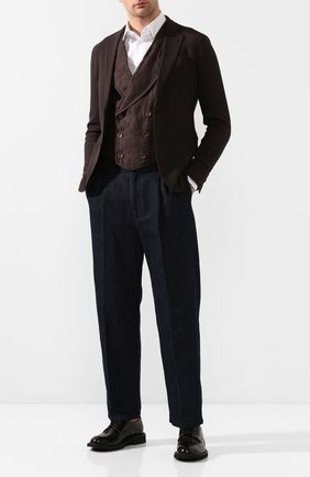 Мужской льняной жилет GIORGIO ARMANI коричневого цвета, арт. 0SGGK01C/T01M3 | Фото 2 (Мужское Кросс-КТ: Жилет-классика; Материал подклада: Хлопок; Материал внешний: Лен; Длина (верхняя одежда): Короткие; Стили: Классический)