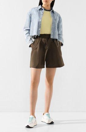 Женские хлопковые шорты GOLDEN GOOSE DELUXE BRAND хаки цвета, арт. G36WP116.A1 | Фото 2