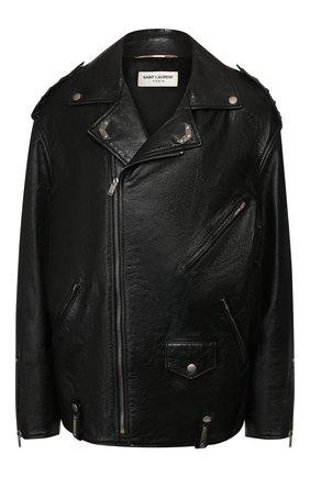 Женская кожаная куртка SAINT LAURENT черного цвета, арт. 589446/Y5RD2 | Фото 1