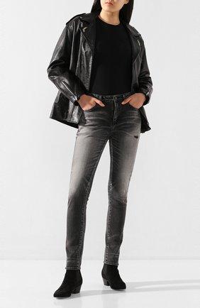 Женская кожаная куртка SAINT LAURENT черного цвета, арт. 589446/Y5RD2 | Фото 2