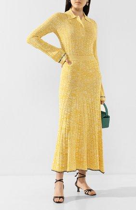 Женская юбка из смеси вискозы и хлопка JOSEPH желтого цвета, арт. JF004602 | Фото 2
