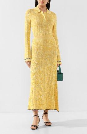 Женское поло из смеси вискозы и хлопка JOSEPH желтого цвета, арт. JF004603 | Фото 2
