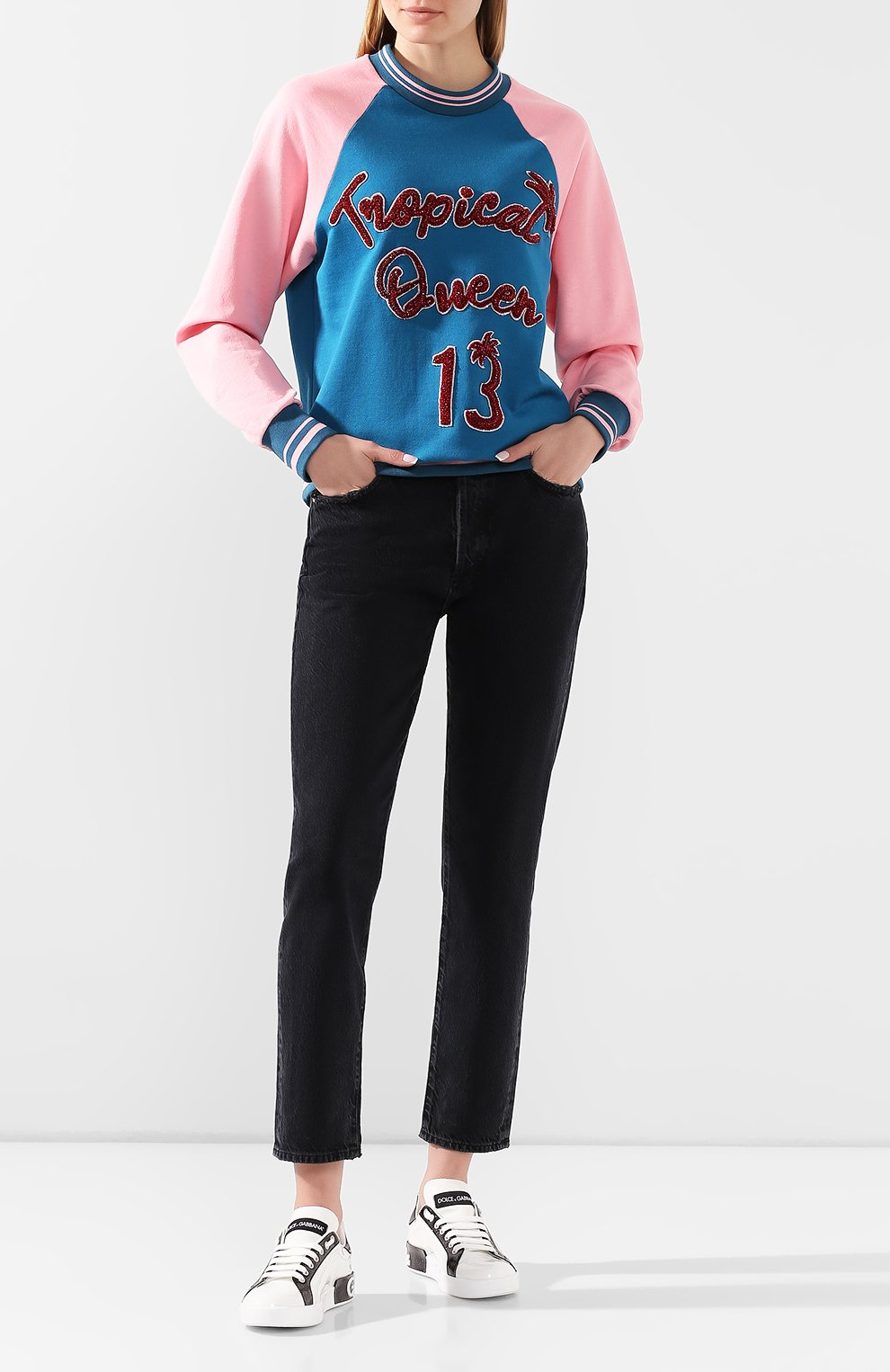 Женские кожаные кеды portofino DOLCE & GABBANA белого цвета, арт. CK1544/AX612   Фото 2