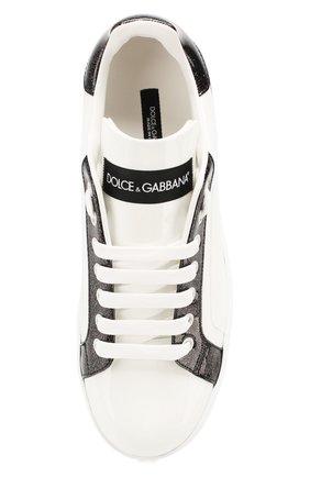 Женские кожаные кеды portofino DOLCE & GABBANA белого цвета, арт. CK1544/AX612   Фото 5