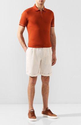 Мужское поло LORO PIANA оранжевого цвета, арт. FAI9780 | Фото 2