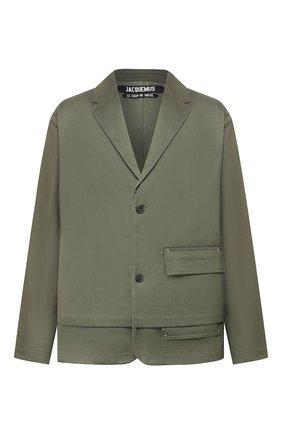 Мужской хлопковый пиджак JACQUEMUS хаки цвета, арт. 205JA02/02570 | Фото 1