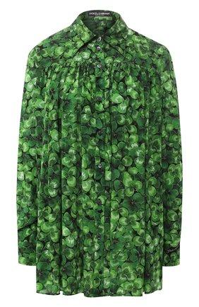 Женская шелковая рубашка DOLCE & GABBANA зеленого цвета, арт. F5M50T/IS1AW | Фото 1