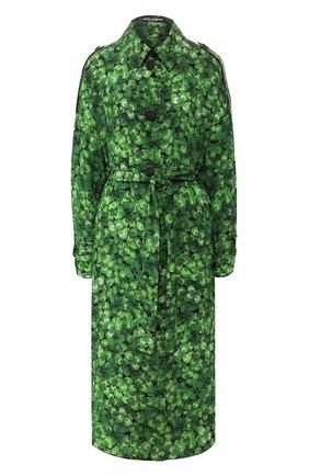 Женский шелковый плащ DOLCE & GABBANA зеленого цвета, арт. F0Z65T/IS1AW | Фото 1