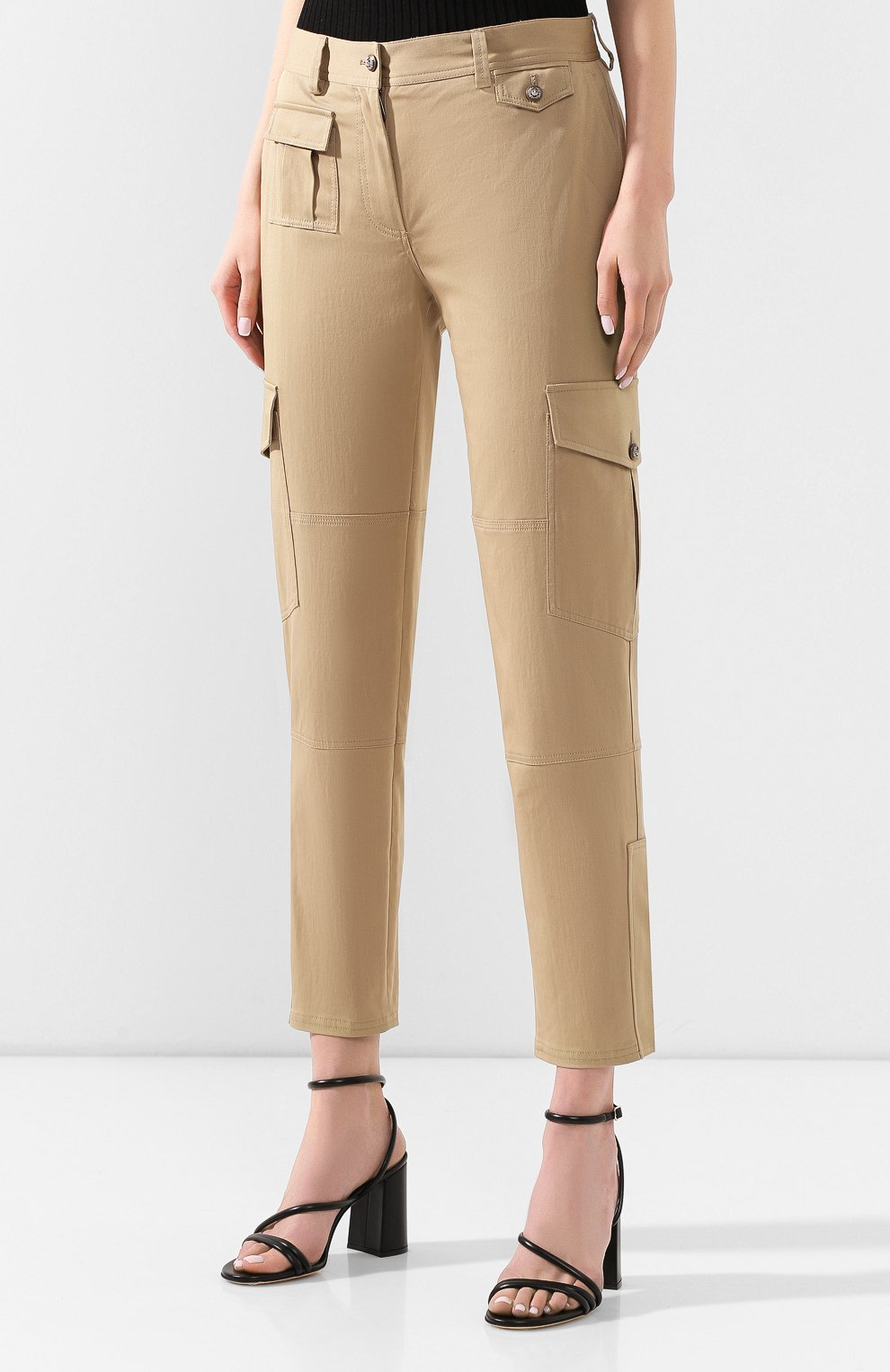 Женские хлопковые брюки DOLCE & GABBANA бежевого цвета, арт. FTBRPT/FUFGA | Фото 3