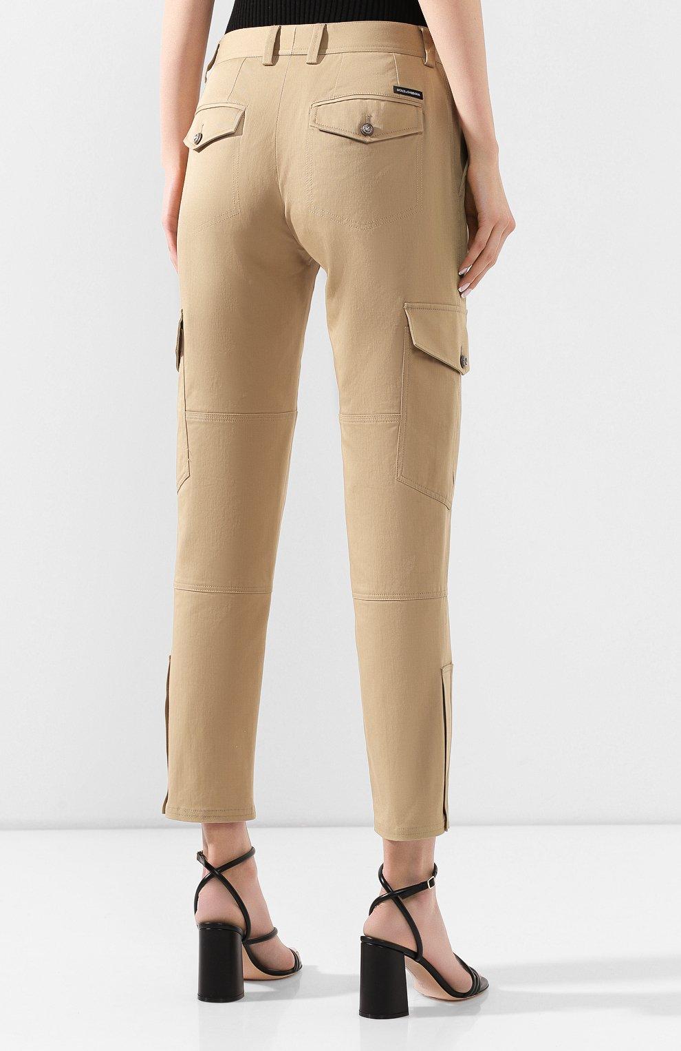 Женские хлопковые брюки DOLCE & GABBANA бежевого цвета, арт. FTBRPT/FUFGA | Фото 4