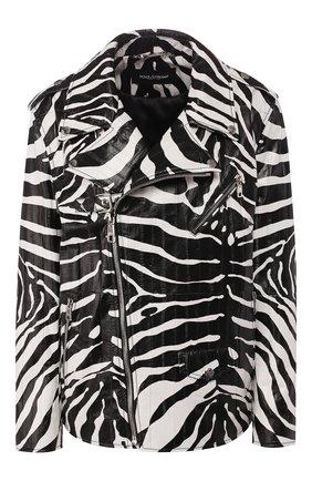 Женская кожаная куртка DOLCE & GABBANA черно-белого цвета, арт. F9I24L/HULH4 | Фото 1