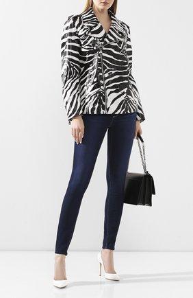 Женская кожаная куртка DOLCE & GABBANA черно-белого цвета, арт. F9I24L/HULH4 | Фото 2