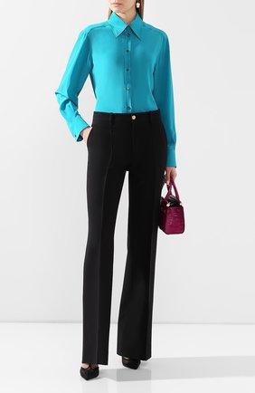 Женская шелковая рубашка DOLCE & GABBANA бирюзового цвета, арт. F5M51T/FU1UQ | Фото 2