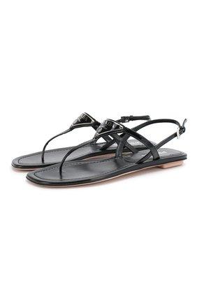 Женские кожаные сандалии PRADA черного цвета, арт. 1Y032M-69-F0002-5 | Фото 1
