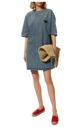 Женские текстильные эспадрильи PRADA красного цвета, арт. 1S066M-10-F0011-20 | Фото 2