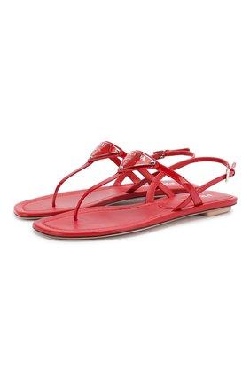 Женские кожаные сандалии PRADA красного цвета, арт. 1Y032M-69-F0011-5 | Фото 1