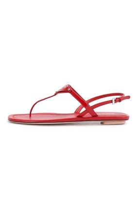 Женские кожаные сандалии PRADA красного цвета, арт. 1Y032M-69-F0011-5 | Фото 2