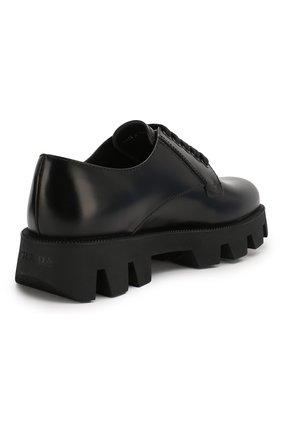 Женские кожаные дерби PRADA черного цвета, арт. 1E010M-B4L-F0002-45   Фото 3 (Подошва: Платформа; Материал внешний: Кожа; Каблук высота: Средний)