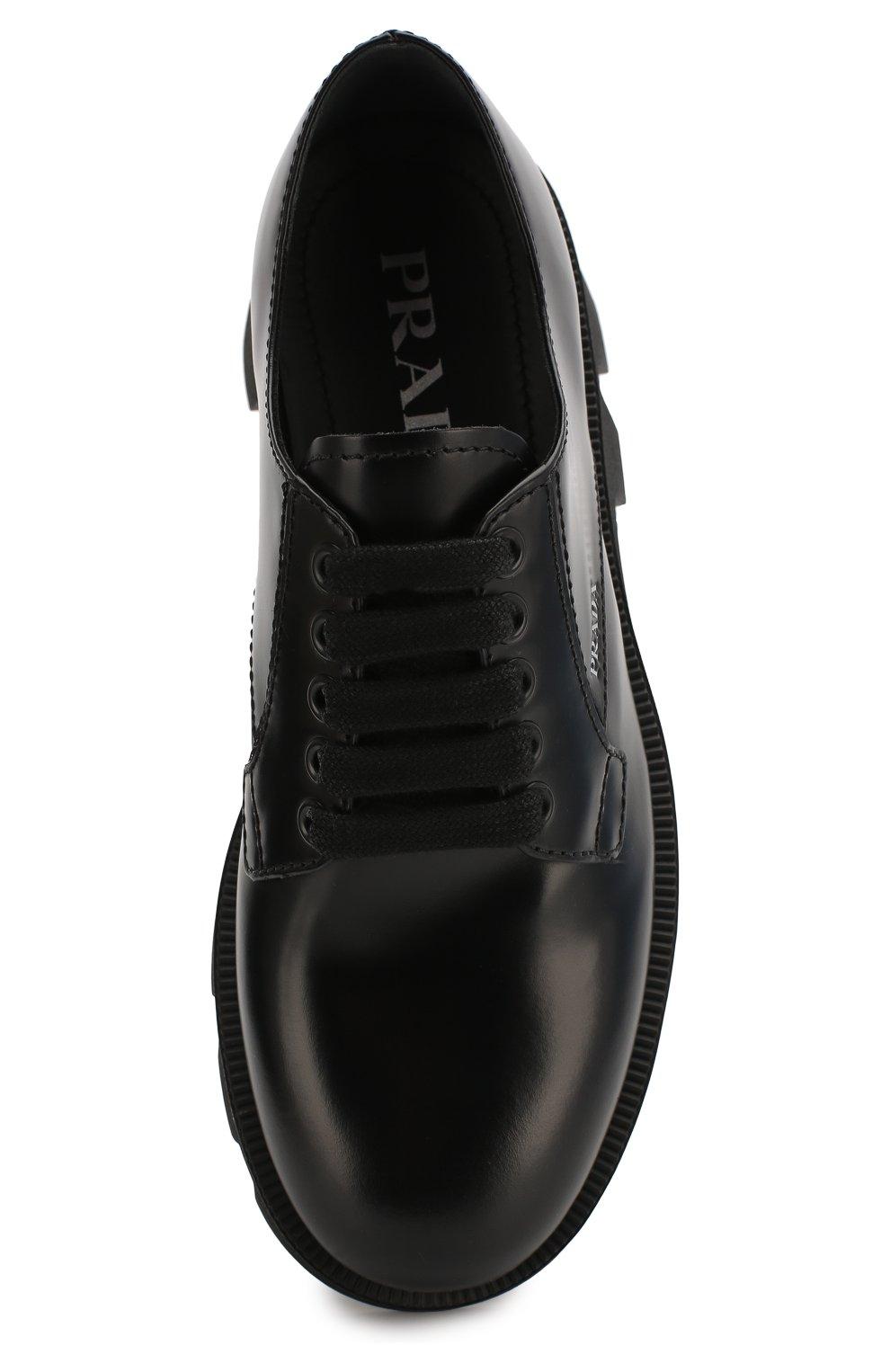Женские кожаные дерби PRADA черного цвета, арт. 1E010M-B4L-F0002-45   Фото 4 (Подошва: Платформа; Материал внешний: Кожа; Каблук высота: Средний)