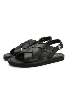 Женские кожаные сандалии PRADA черного цвета, арт. 1X070M-3L80-F0002-5 | Фото 1