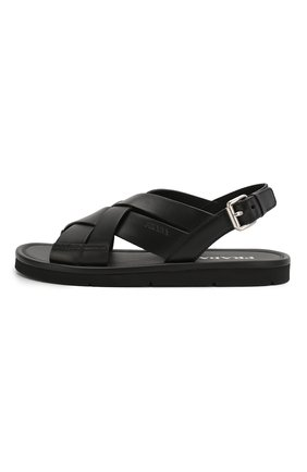 Женские кожаные сандалии PRADA черного цвета, арт. 1X070M-3L80-F0002-5 | Фото 2
