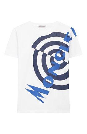 Детская хлопковая футболка MONCLER белого цвета, арт. F1-954-8C717-20-83907/8-10A | Фото 1