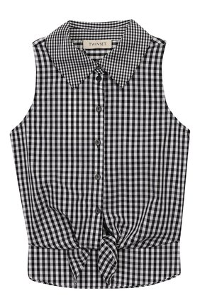 Детское хлопковая блузка TWINSET черно-белого цвета, арт. 201GJ2095/6A-10A | Фото 1