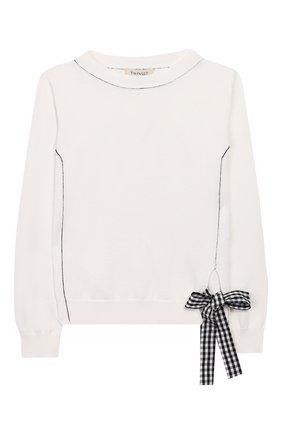 Детский пуловер TWINSET белого цвета, арт. 201GJ3130/6A-10A | Фото 1