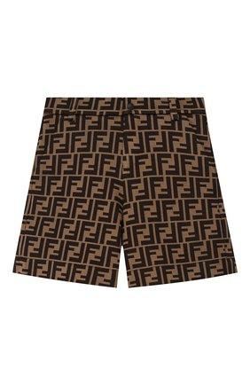 Детские хлопковые шорты FENDI коричневого цвета, арт. JMF274/A6A6/8A-12+ | Фото 1