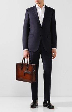 Мужской кожаный портфель BERLUTI коричневого цвета, арт. M200491   Фото 2