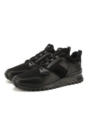 Мужские комбинированные кроссовки TOD'S черного цвета, арт. XXM98B0CQ00NXV   Фото 1