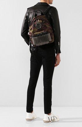 Мужской комбинированный рюкзак PHILIPP PLEIN хаки цвета, арт. P20A MBA0916 PLE010N | Фото 2