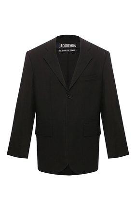 Мужской пиджак JACQUEMUS черного цвета, арт. 205JA01/12990 | Фото 1