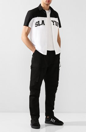 Мужская хлопковая рубашка NEIL BARRETT черно-белого цвета, арт. BCM1353S/N028S | Фото 2