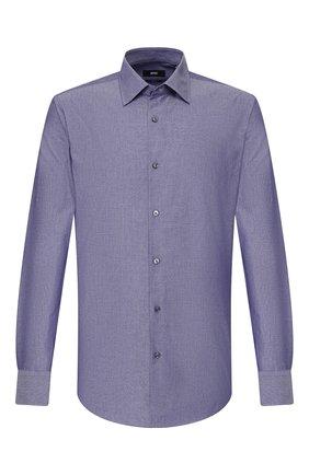 Мужская хлопковая сорочка BOSS темно-синего цвета, арт. 50428487 | Фото 1
