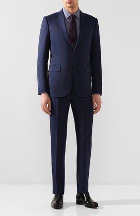 Мужская хлопковая сорочка BOSS темно-синего цвета, арт. 50428487 | Фото 2