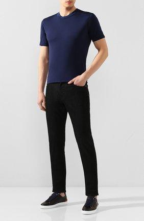 Мужская хлопковая футболка DANIELE FIESOLI темно-синего цвета, арт. DF 1351 | Фото 2