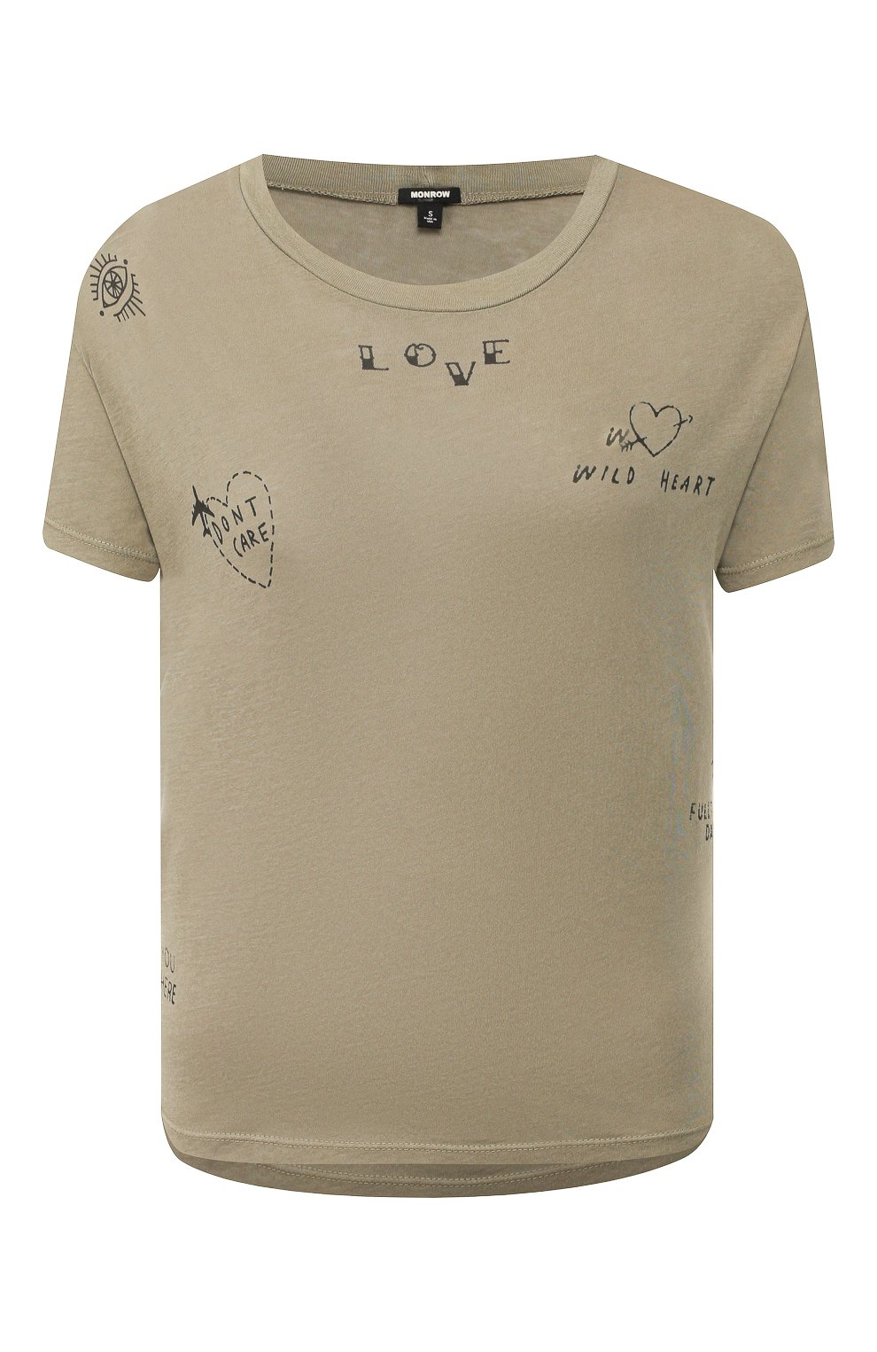 Женская хлопковая футболка MONROW хаки цвета, арт. HT0708-28   Фото 1