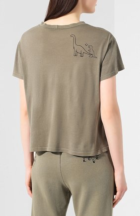 Женская хлопковая футболка MONROW хаки цвета, арт. HT0708-28   Фото 4