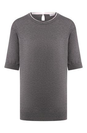 Женская хлопковая футболка BRUNELLO CUCINELLI серого цвета, арт. M8Z840600 | Фото 1