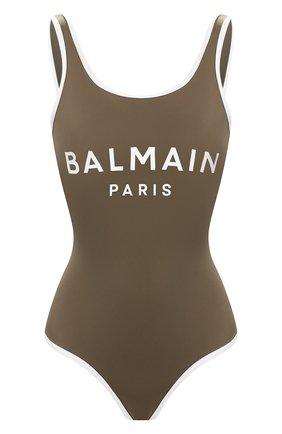 Женский слитный купальник BALMAIN хаки цвета, арт. BPBU00200 | Фото 1