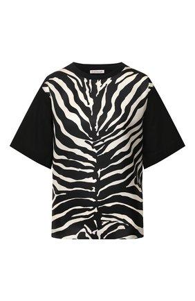 Женская футболка из смеси шелка и хлопка MONCLER черно-белого цвета, арт. F1-093-8C736-00-A0110 | Фото 1